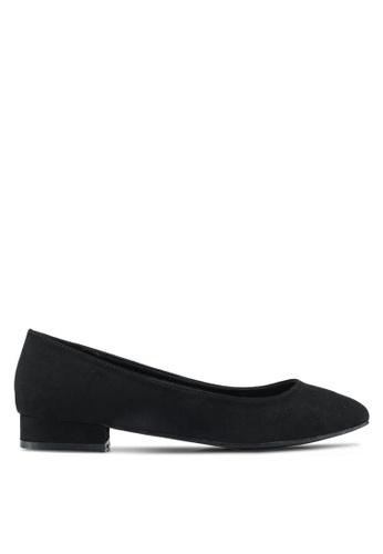 Bata 黑色 麂皮低跟平底鞋 AE76CSH74EA28EGS_1