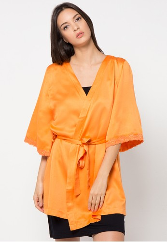 Valentine Secret orange Satin Kimono Robe VA590AA14HRXID_1