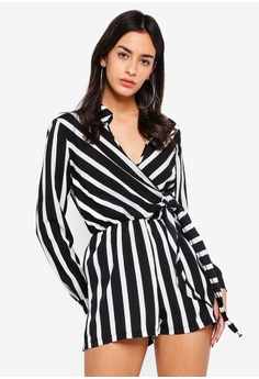 1e62f39e3d9 MISSGUIDED white Wrap Front Stripe Shirt Playsuit EE754AAE455C98GS 1