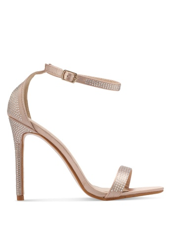 Public Desire gold and beige Lana Diamante Detail Barely There Heels PU378SH0SIPVMY_1