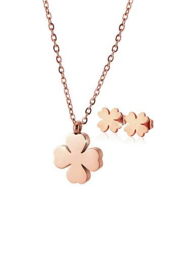 CELOVIS gold CELOVIS - Destiny Four Leaf Clover Necklace + Earrings Jewellery Set in Rose Gold BE4FAACCE90FFDGS_1