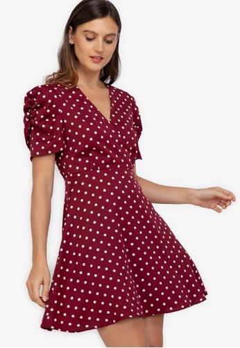 ZALORA WORK multi Puff Sleeve Fit & Flare Dress 1D1DBAA5727268GS_1