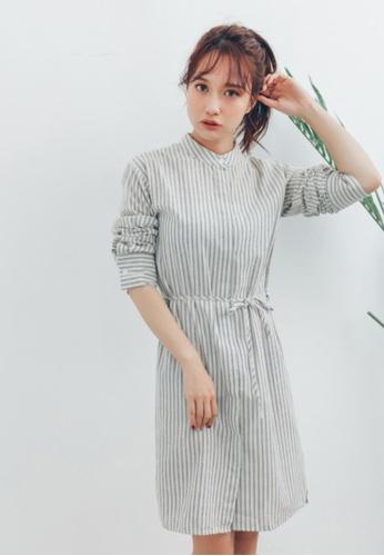 Shopsfashion black and white Oriental Collar Shirt Dress in White 2565BAACC4A84CGS_1