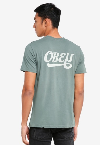 OBEY green Obey Skewed Script T-Shirt 87474AACBFB5EDGS_1