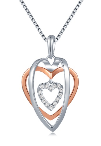 """MaBelle gold 18K Rose And White Gold Triple Hearts Diamond Pendant With Sterling Silver Chain (16"""") MA584AC65IIWHK_1"""
