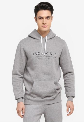 Jack Wills grey Batsford Wills Popover Hoodie 5985CAA42AE854GS_1