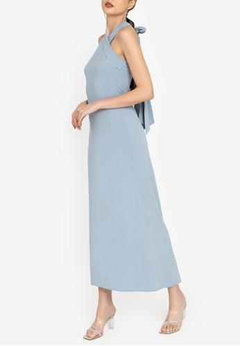 ZALORA OCCASION blue Halter Maxi Dress 21914AA194334FGS_1