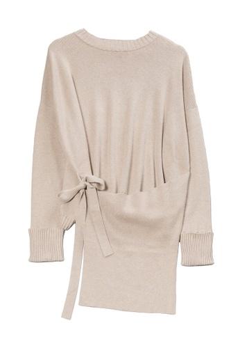 KLAPS beige Wrap Sweater 8BE9DAA13446AFGS_1