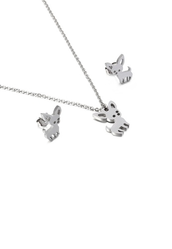 Glamorousky silver Simple Cute Puppy 316L Stainless Steel Necklace and Stud Earrings Set 1FFB3AC41E25B9GS_1