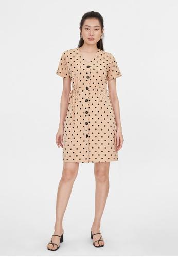 Pomelo pink Polka Dot Drawstring Dress - Pink A56A9AAB16D62BGS_1