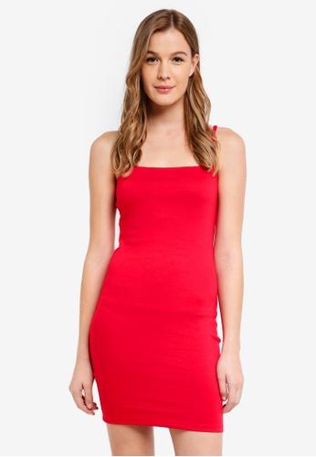 Cotton On red Kimi Straight Neck Bodycon Mini Dress E6848AAD3F7926GS_1