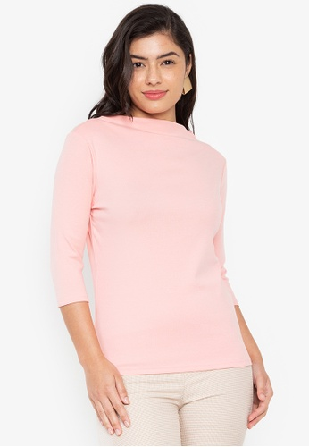 Wear Kris pink Kingpin High Neck Rib Knit Top With Elbow Sleeves 41FCDAA32ACE18GS_1