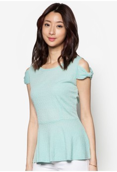 Peplum Short Sleeve Top With Bow Shoulder Detail