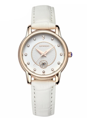 SANDA white SANDA P198 Luxury Genuine Leather Band Date Display Quartz Dazzling Diamond Women Watch (White Gold) SA708AC0RXC9MY_1