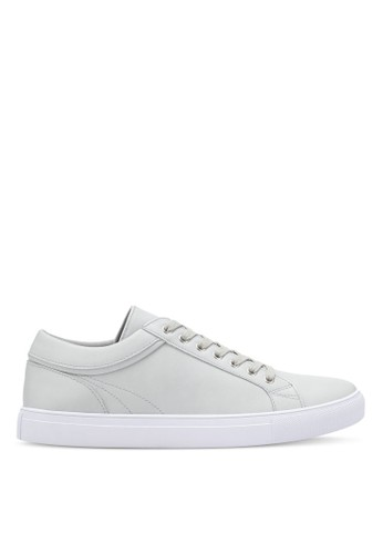 ZALORA blue Faux Leather Sneakers with Trim Detail 4E543SH58893F2GS_1