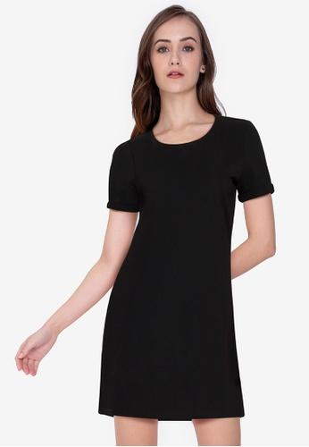 ZALORA WORK black Short Sleeve Mini Dress 17D1AAA060278BGS_1