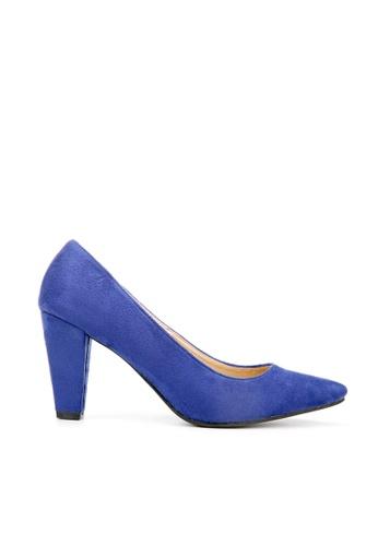 KissXXX 藍色 久走不累厚粗跟美腿效果8CM尖頭高跟鞋 KI603SH09MSBTW_1