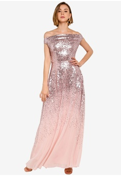 d8df47ccca 30% OFF Goddiva Pleated Bodice Sequin And Chiffon Maxi Dress RM 509.00 NOW  RM 355.90 Available in several sizes