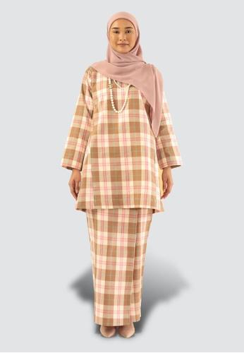 MISSLILY SERI PLAID KLASIK KURONG from MISSLILY SHOP in Pink and Brown and Beige