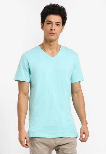 Cotton On 藍色 休閒素色V領T恤 A28FCAA1C4F457GS_1