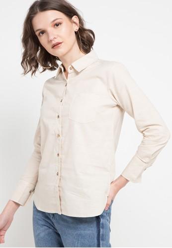 novel.mice beige Crème One Pocket Shirt 09E95AA0A1BA66GS_1