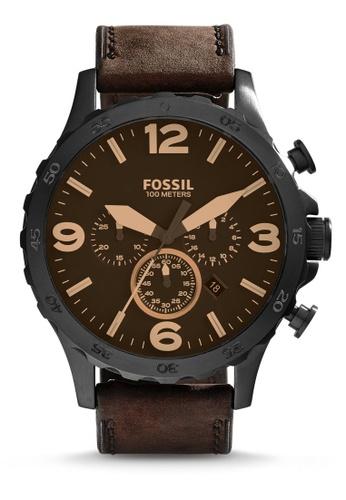 Fossil brown Nate Chronograph Watch JR1487 B16FDAC66A53A8GS_1