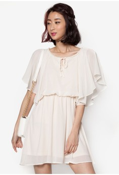 Chiffon Dress with Pearl Collar