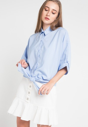 AliveLoveArts blue Rosa Long Cotton Blouses BFED3AA67ECB0DGS_1