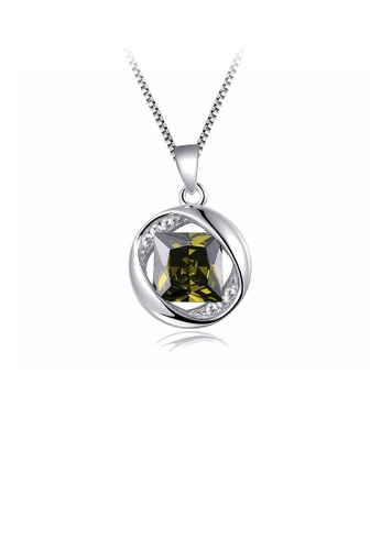 Glamorousky green 925 Sterling Silver August Birthday Stone Pendant with Green Cubic Zircon and Necklace A7626ACD7D135FGS_1