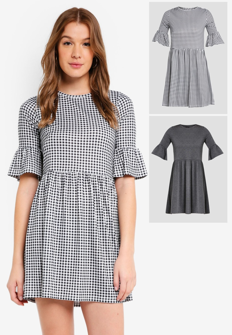 pack Black Grey ZALORA Gingham Dress Marl Ruffle 2 Basic Shift Sleeves BASICS aqBCvd