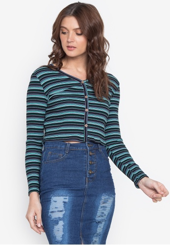 Monvelli blue Long Sleeves V-Neck Full-Button Knitted Crop Top BEF10AA70509D2GS_1