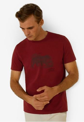 Mango Man 紅色 Cotton Printed T-Shirt BCB6AAA33342BCGS_1