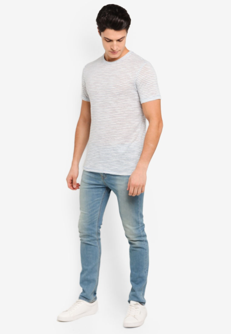 Topman Grey Blue Shirt Blue T Linen Stripe Light qSIIxUXwr