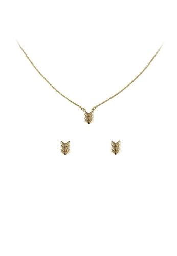 Kitsch gold Chevron Necklace & Earring Set Gold KI749AC2VGIZHK_1