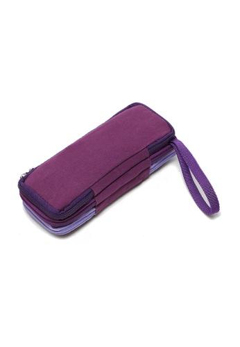 LULUGIFT purple Tri Color Layer Clutch Make Up Purse LU989AC62LQBMY_1