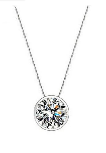 Vivere Rosse silver Bedazzling Bezel Necklace - 18K White Gold Plated VI014AC36ZUDMY_1