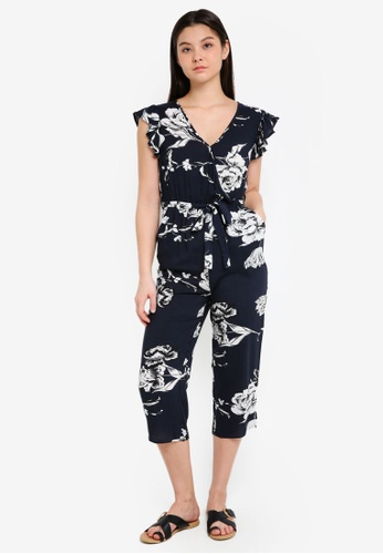 Cotton On blue and navy Woven Frankie V-Neck Culotte Jumpsuit 941DEAAFC8A42AGS_1