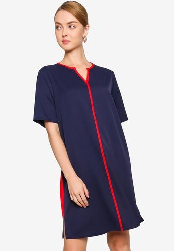 ZALORA WORK navy Contrast Binding Dress 98E6BAA448C210GS_1
