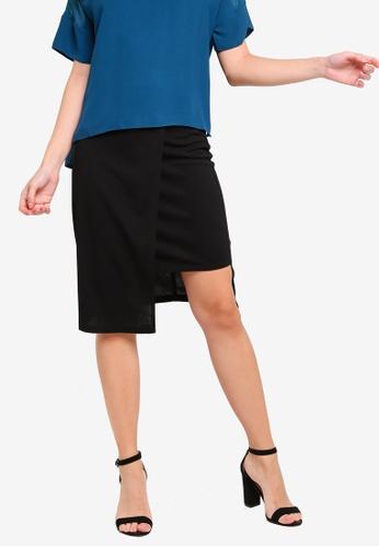 ZALORA 黑色 Step 下擺Skirt 697ECAAF156B3BGS_1