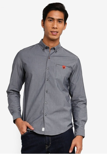 Timberland navy Long Sleeve Oxford Commuter Slim Shirt with Outlast Fabric FBB80AA77593BEGS_1
