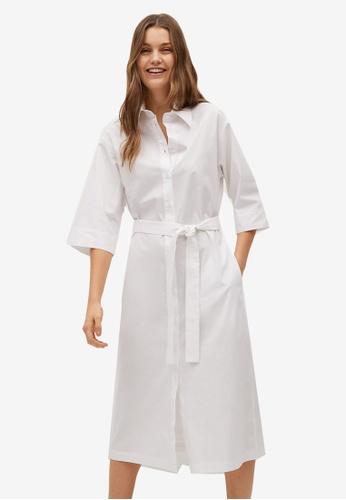 Mango white Belt Shirt Dress 440F2AAE26B704GS_1