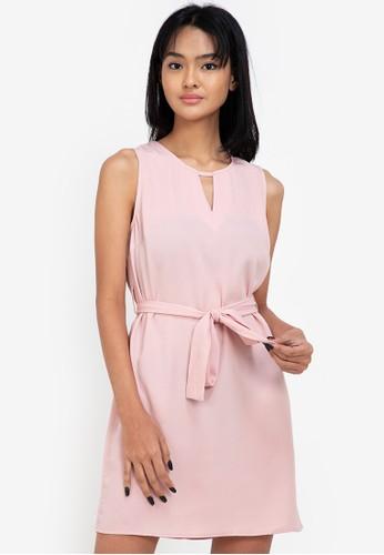 ZALORA BASICS pink Keyhole Detail Mini Dress 8B11BAAF6118DFGS_1