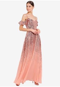 5f04eb31aa1 Goddiva pink Flutter Sleeve Sequin And Chiffon Maxi Dress EA0BFAAB263AEEGS 1