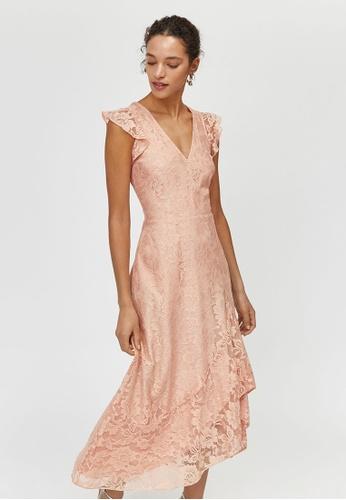baef4c088362 Shop WAREHOUSE Lace Frill Midi Dress Online on ZALORA Philippines