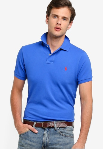 15e7da69b Polo Ralph Lauren blue Knit Custom Slim Fit Basic Mesh Polo Shirt  DD5A5AA02C2803GS_1