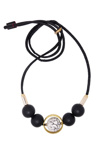 Jaysa Collection black Designer Wooden Spheres Necklace With Variable Length Leather Cord JA875AC0GWT0SG_1