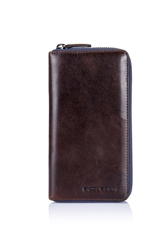 ENZODESIGN brown Full Grain Vintage Leather Zip Around Wallet (With Cell Phone Pocket) EN357AC0FSSASG_1