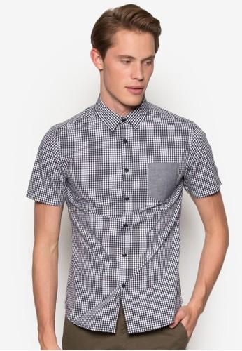 拼色口袋格紋短袖襯衫,esprit holdings limited 服飾, 襯衫