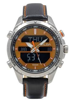 ALBA Jam Tangan Pria - Black Silver Orange - Leather Strap - AZ4067  3E24BAC65897DFGS 1 2c85a1e53a