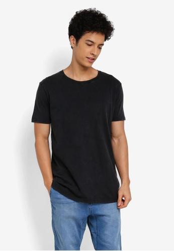 Cotton On 黑色 休閒短袖長版T恤 4576FAA9918646GS_1